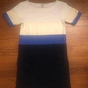 J Crew Color Block Tee Shirt Dress